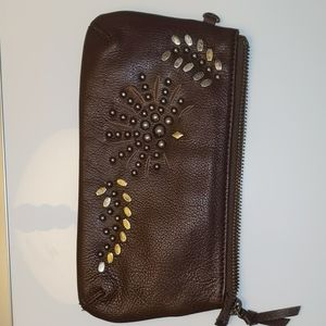 Brown leather Nordstrom clutch